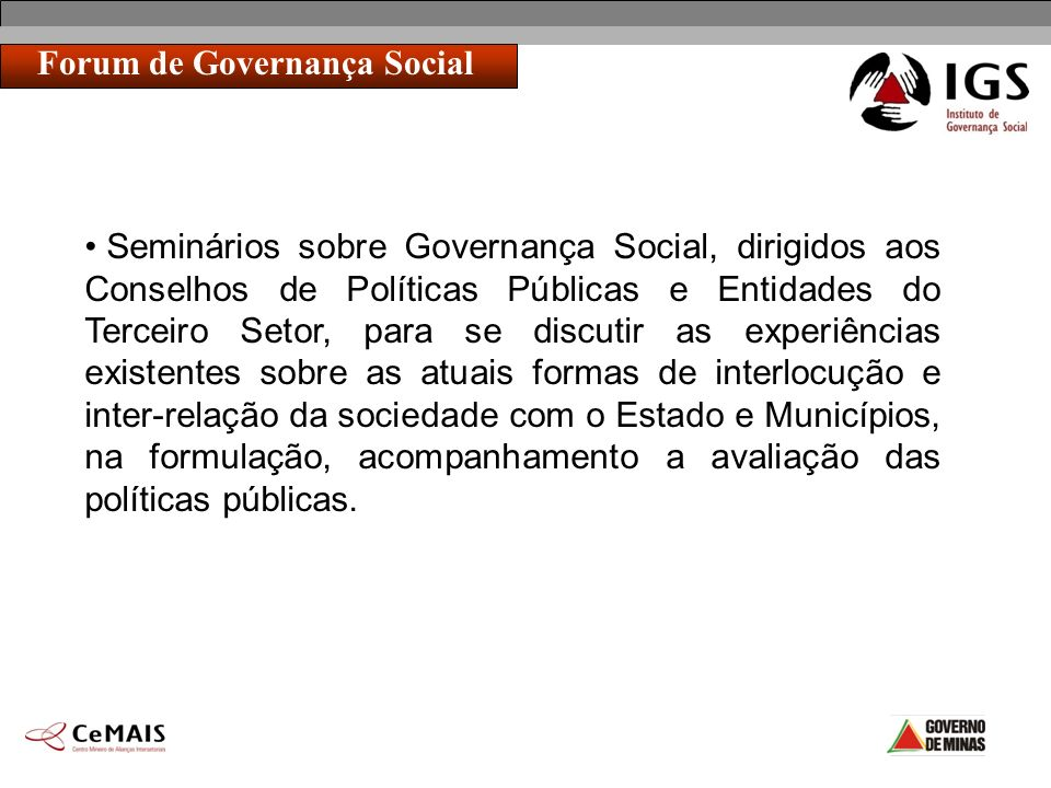 Forum de Governança Social