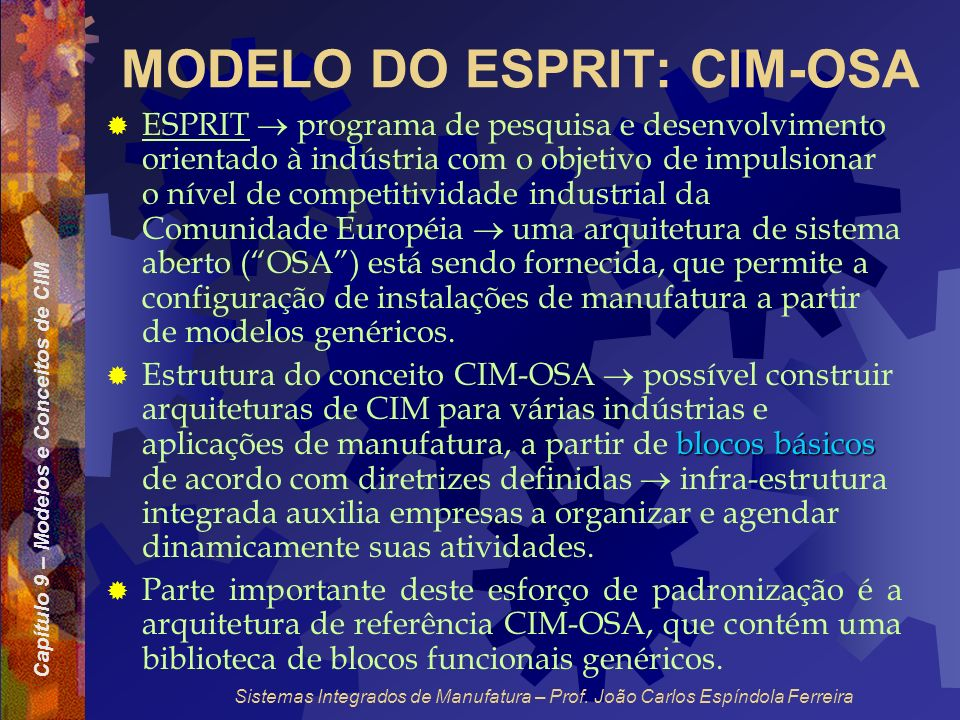 MODELO DO ESPRIT: CIM-OSA