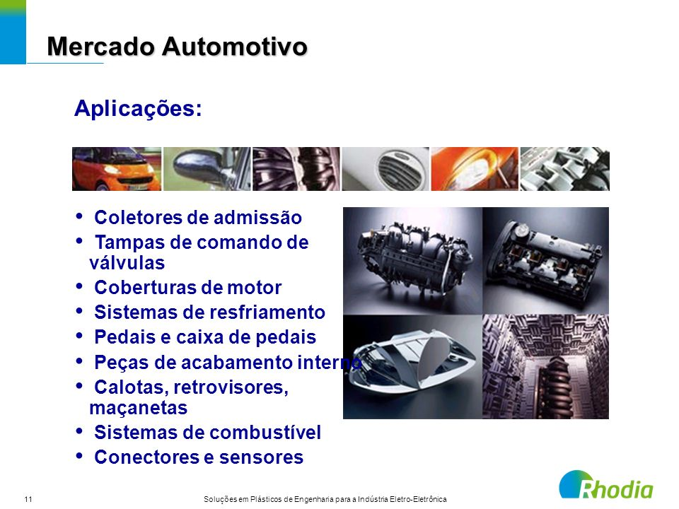 Mercado Automotivo Aplicações: Coletores de admissão