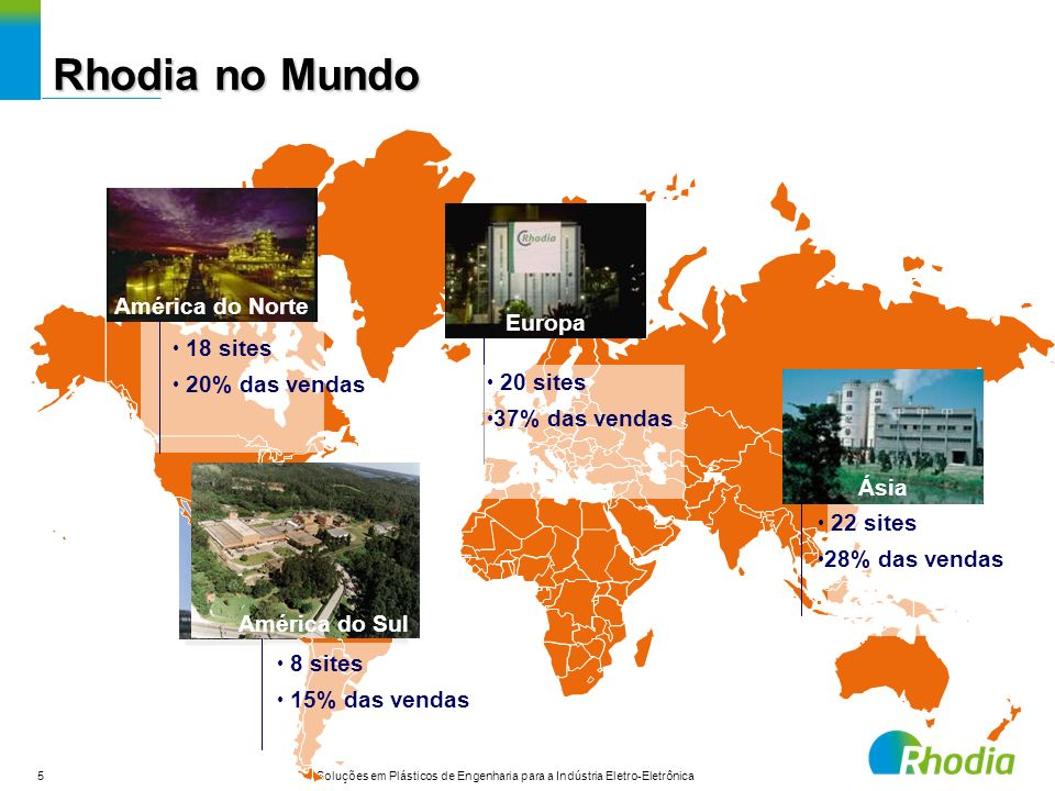 Rhodia no Mundo América do Norte Europa 18 sites 20% das vendas