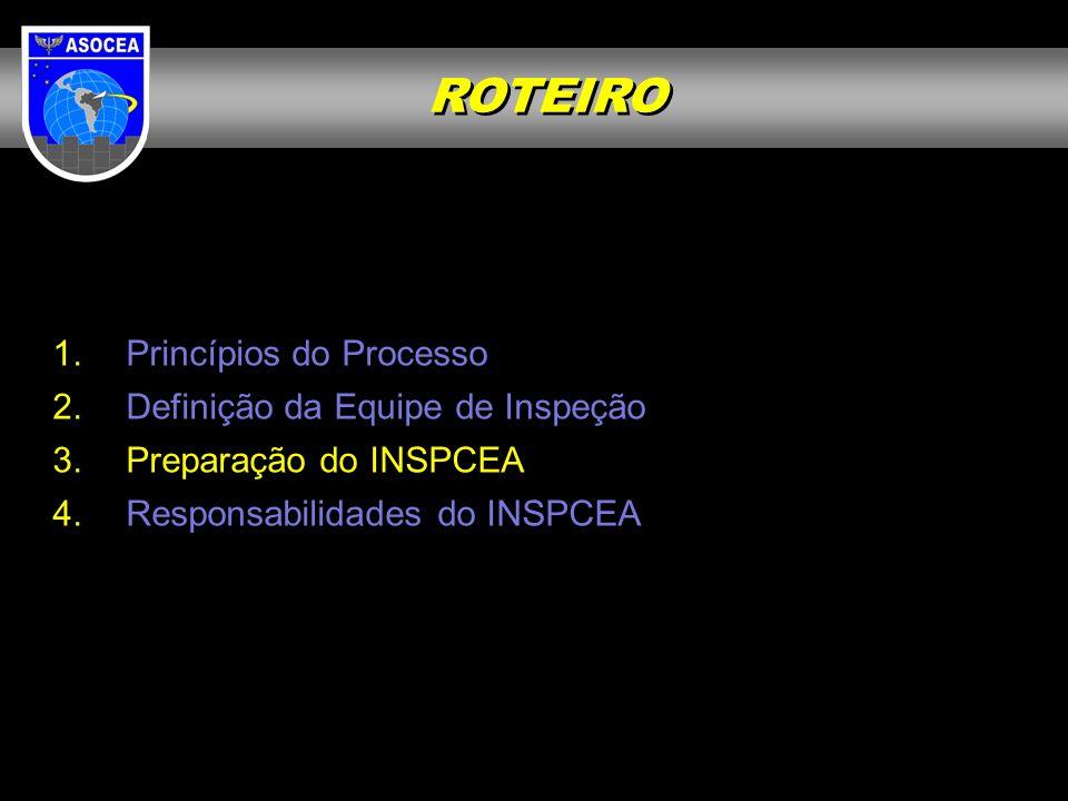 ROTEIRO Princípios do Processo Definição da Equipe de Inspeção
