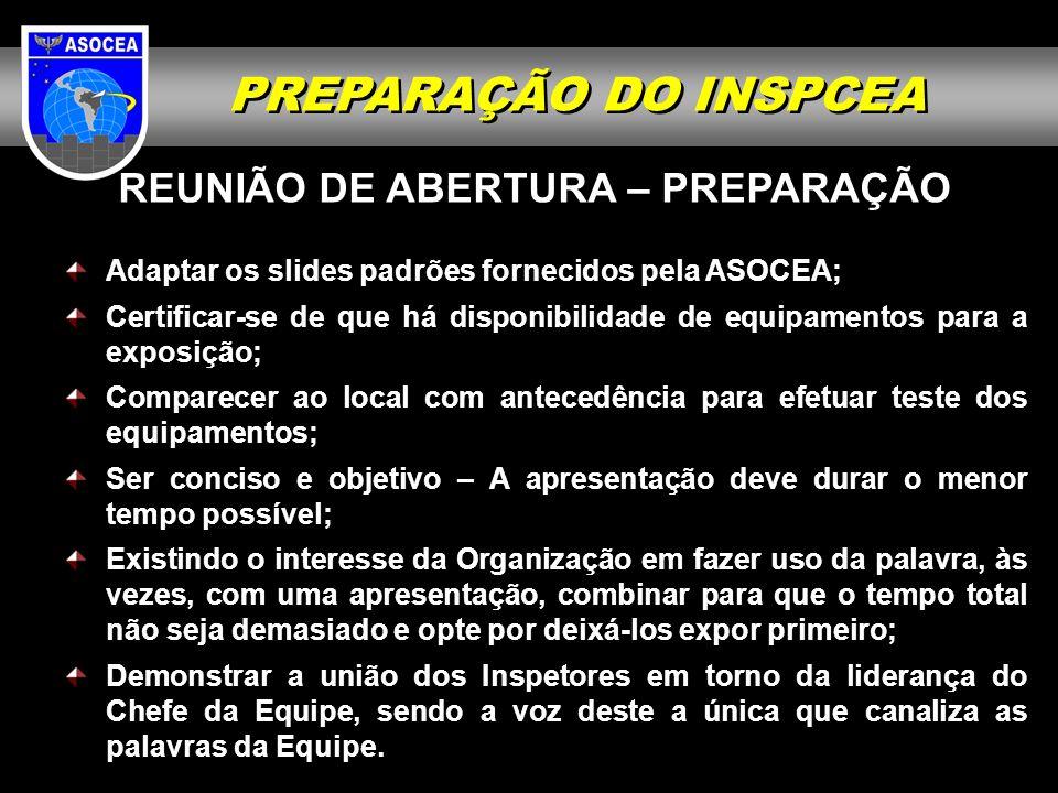 PREPARAÇÃO DO INSPCEA REUNIÃO DE ABERTURA – PREPARAÇÃO