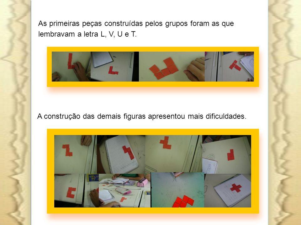 As primeiras peças construídas pelos grupos foram as que lembravam a letra L, V, U e T.
