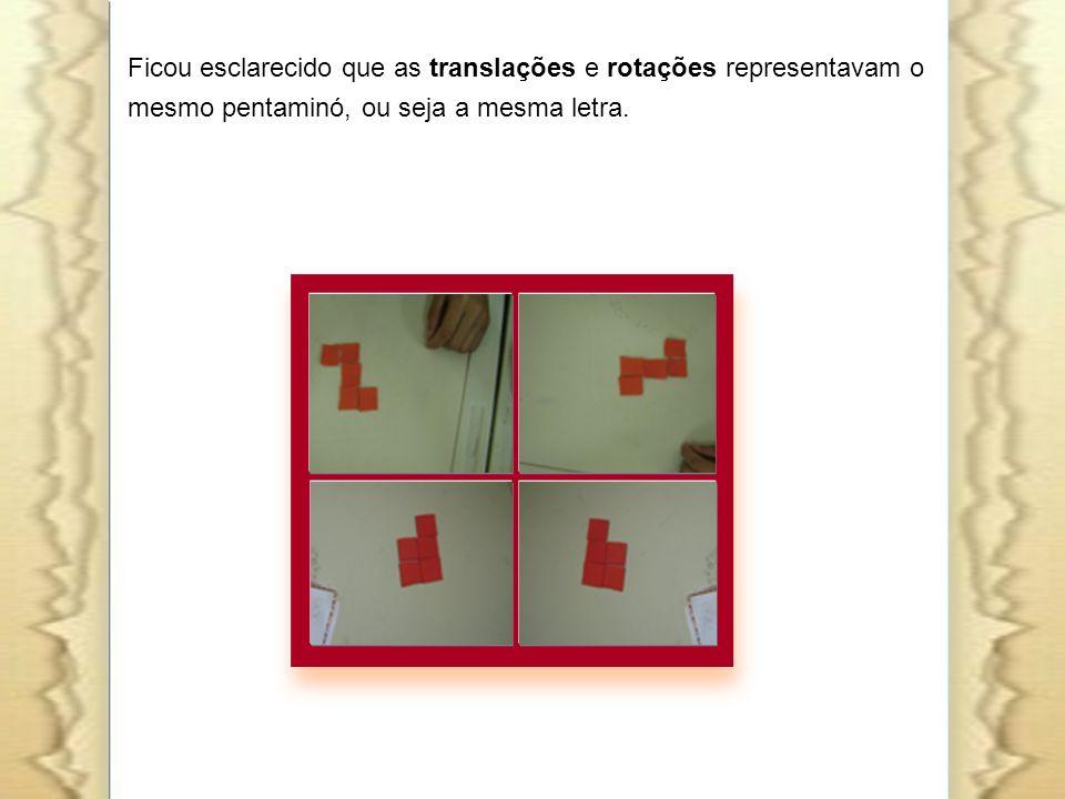 Ficou esclarecido que as translações e rotações representavam o mesmo pentaminó, ou seja a mesma letra.