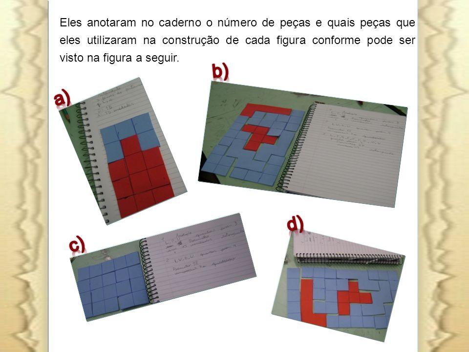 Eles anotaram no caderno o número de peças e quais peças que eles utilizaram na construção de cada figura conforme pode ser visto na figura a seguir.