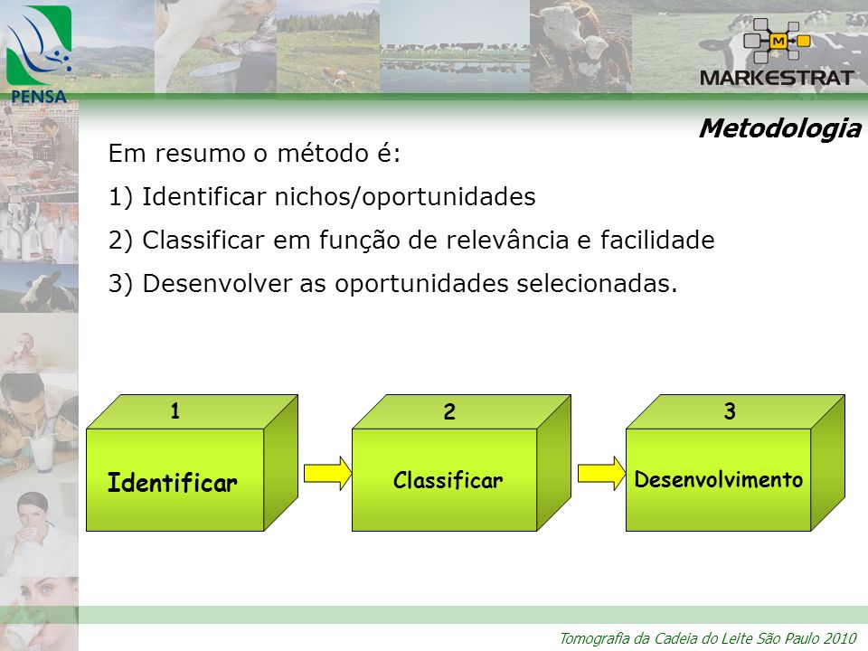 Metodologia Em resumo o método é: 1) Identificar nichos/oportunidades