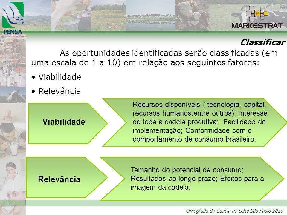 Classificar As oportunidades identificadas serão classificadas (em uma escala de 1 a 10) em relação aos seguintes fatores: