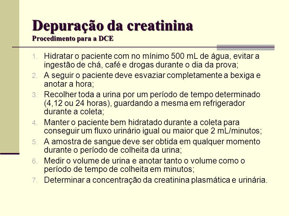 Depuração da creatinina Procedimento para a DCE