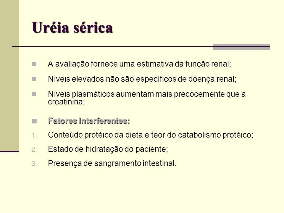 Uréia sérica A avaliação fornece uma estimativa da função renal;