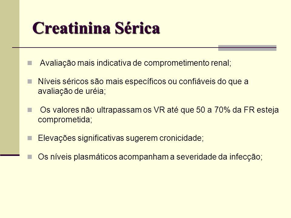 Creatinina Sérica Avaliação mais indicativa de comprometimento renal;
