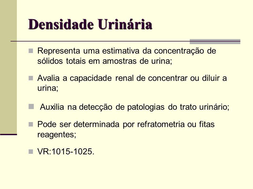 Densidade Urinária Representa uma estimativa da concentração de sólidos totais em amostras de urina;