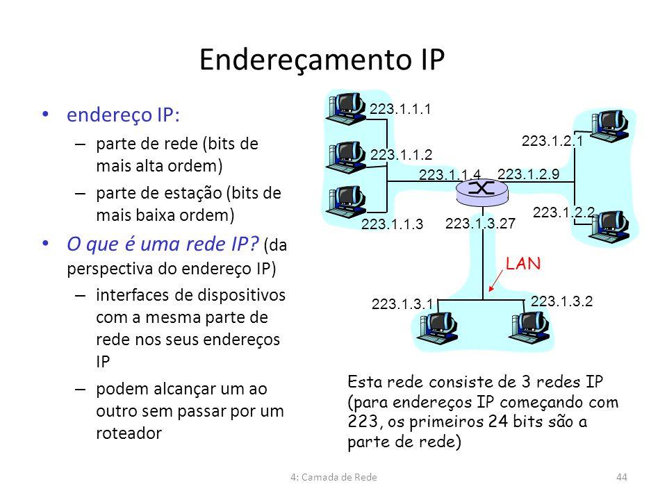 Endereçamento IP endereço IP: