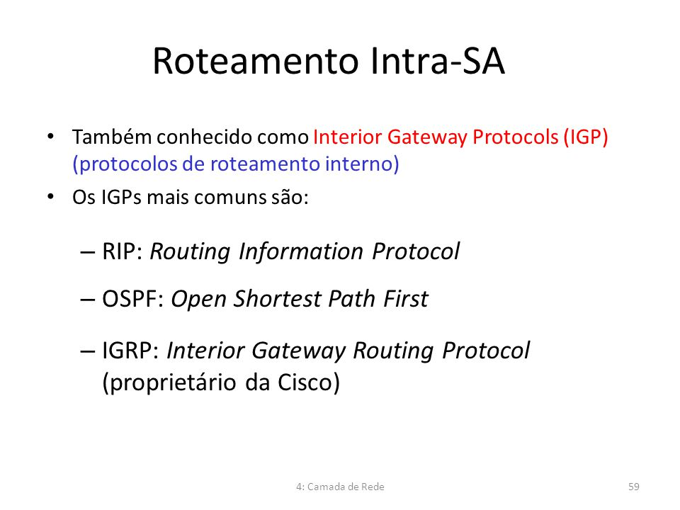Roteamento Intra-SA RIP: Routing Information Protocol