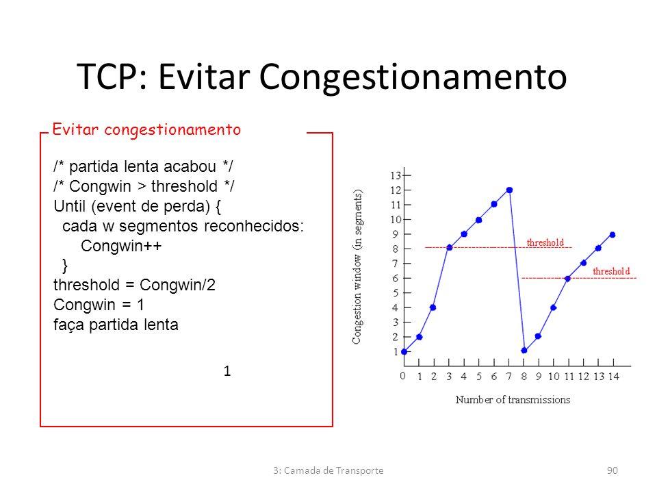 TCP: Evitar Congestionamento