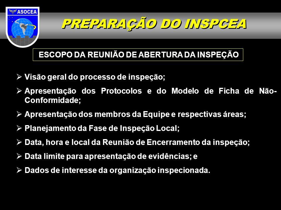 PREPARAÇÃO DO INSPCEA ESCOPO DA REUNIÃO DE ABERTURA DA INSPEÇÃO