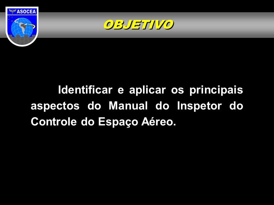 OBJETIVOIdentificar e aplicar os principais aspectos do Manual do Inspetor do Controle do Espaço Aéreo.