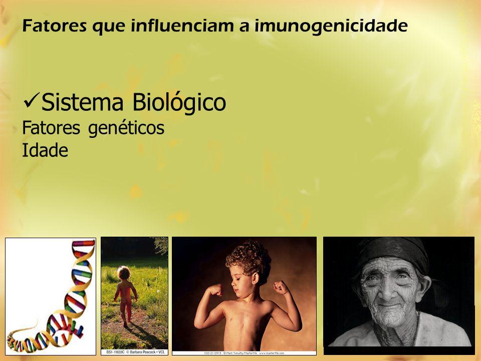 Sistema Biológico Fatores que influenciam a imunogenicidade