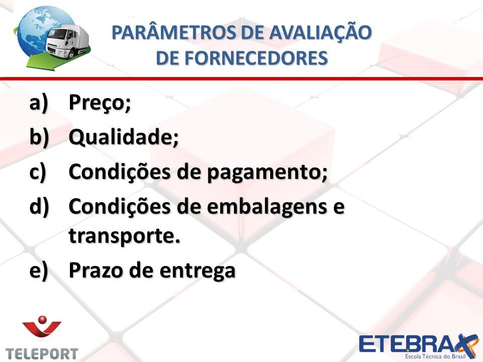 PARÂMETROS DE AVALIAÇÃO DE FORNECEDORES