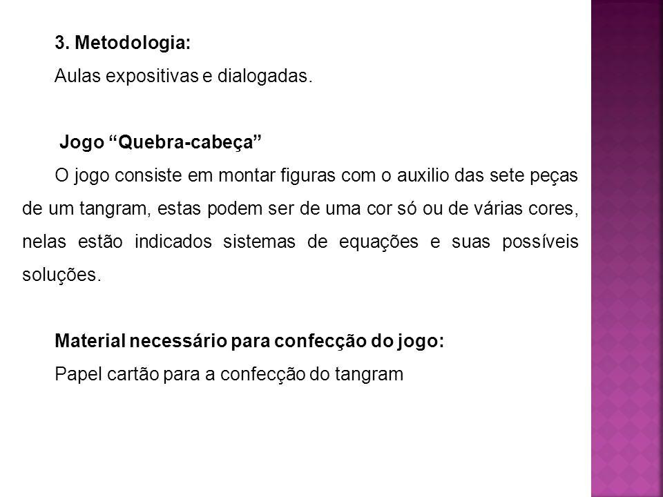 3. Metodologia:Aulas expositivas e dialogadas. Jogo Quebra-cabeça