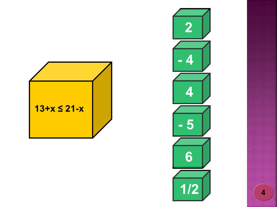 2 - 4 4 13+x ≤ 21-x - 5 6 1/2 4