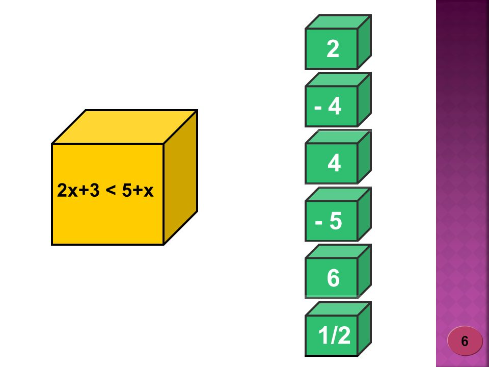 2 - 4 4 2x+3 < 5+x - 5 6 1/2 - 4 6