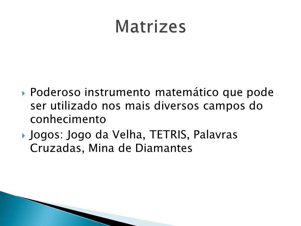 Matrizes Poderoso instrumento matemático que pode ser utilizado nos mais diversos campos do conhecimento.