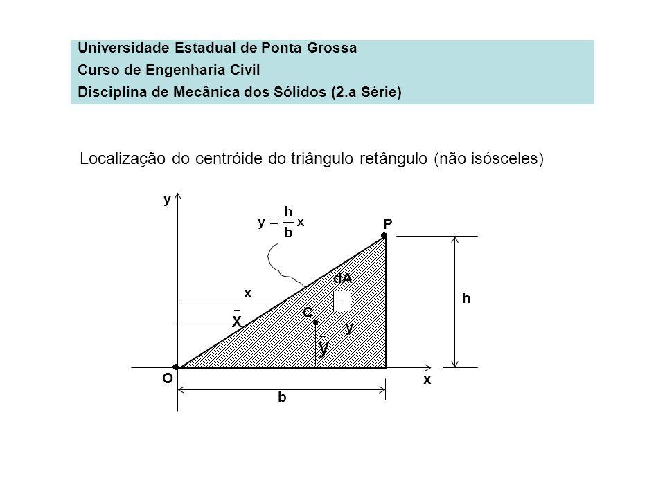 Localização do centróide do triângulo retângulo (não isósceles)