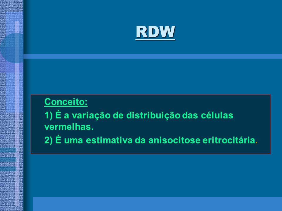 RDW Conceito: 1) É a variação de distribuição das células vermelhas.