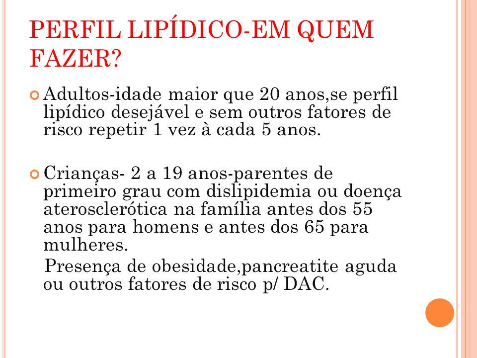 PERFIL LIPÍDICO-EM QUEM FAZER