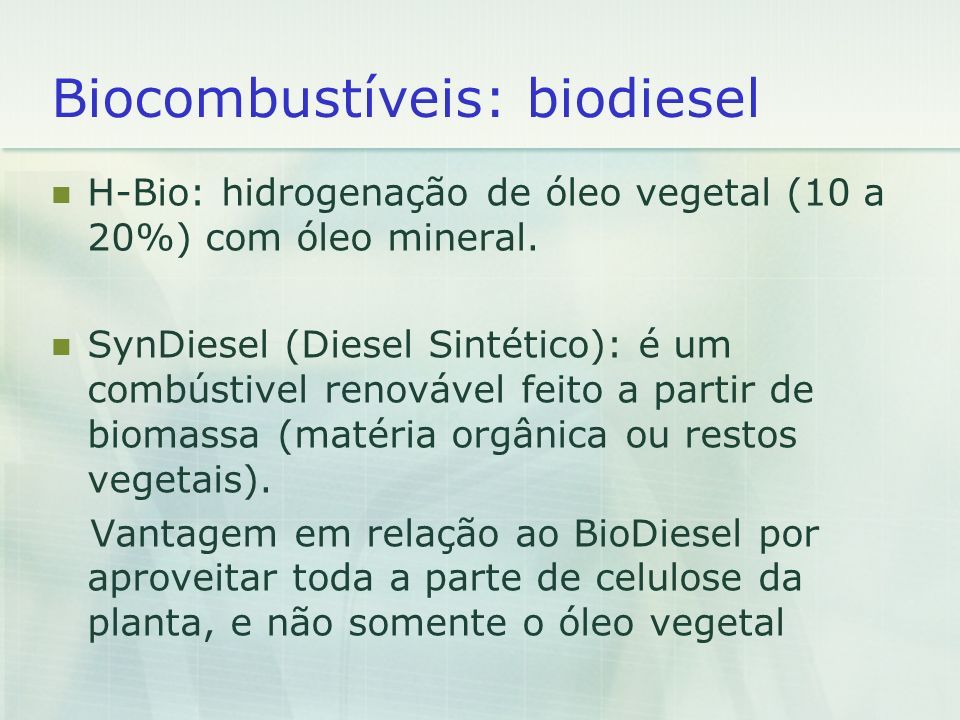 Biocombustíveis: biodiesel