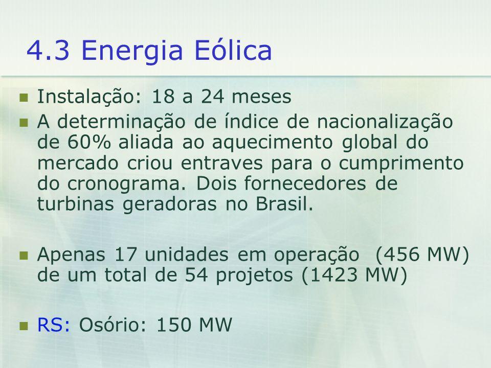 4.3 Energia Eólica Instalação: 18 a 24 meses