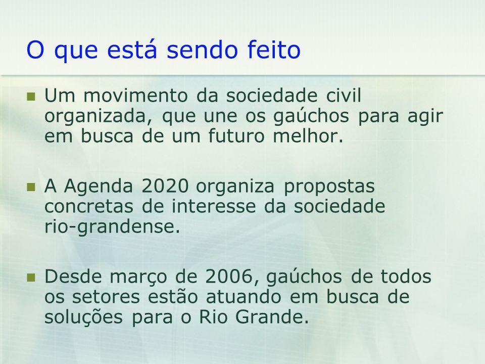 O que está sendo feito Um movimento da sociedade civil organizada, que une os gaúchos para agir em busca de um futuro melhor.