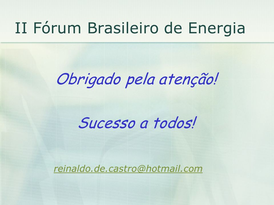 II Fórum Brasileiro de Energia