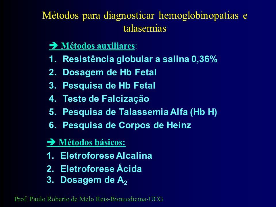 Métodos para diagnosticar hemoglobinopatias e talasemias