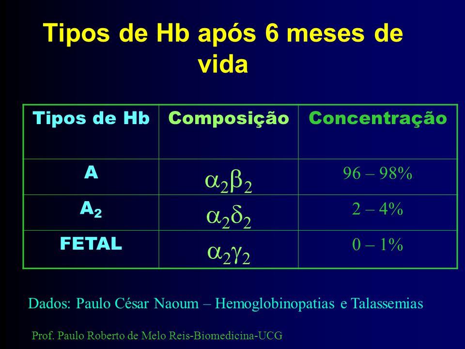 Tipos de Hb após 6 meses de vida