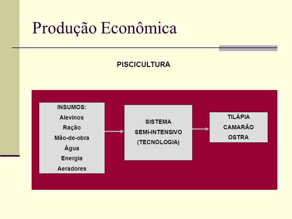 Produção Econômica PISCICULTURA INSUMOS: Alevinos SISTEMA Ração