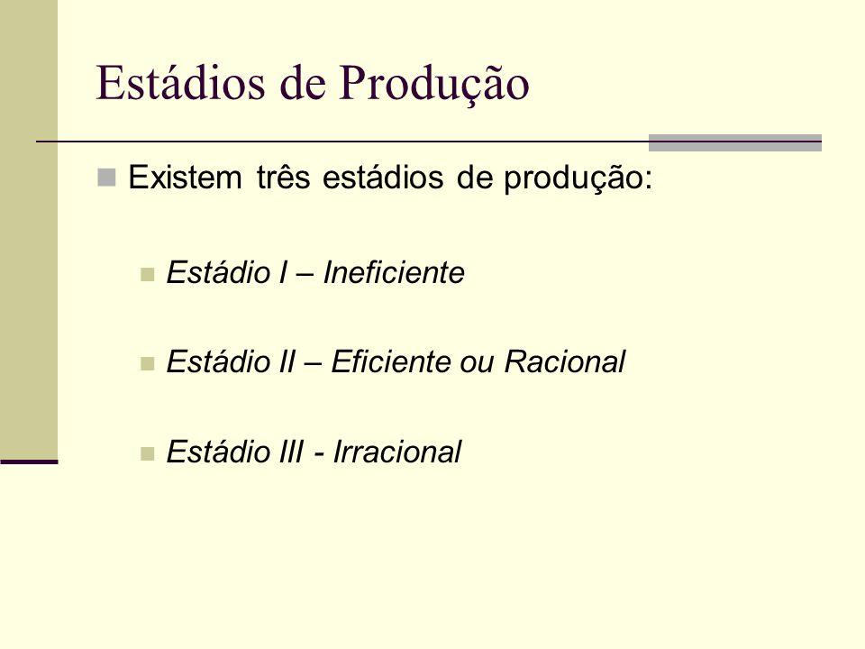 Estádios de Produção Existem três estádios de produção: