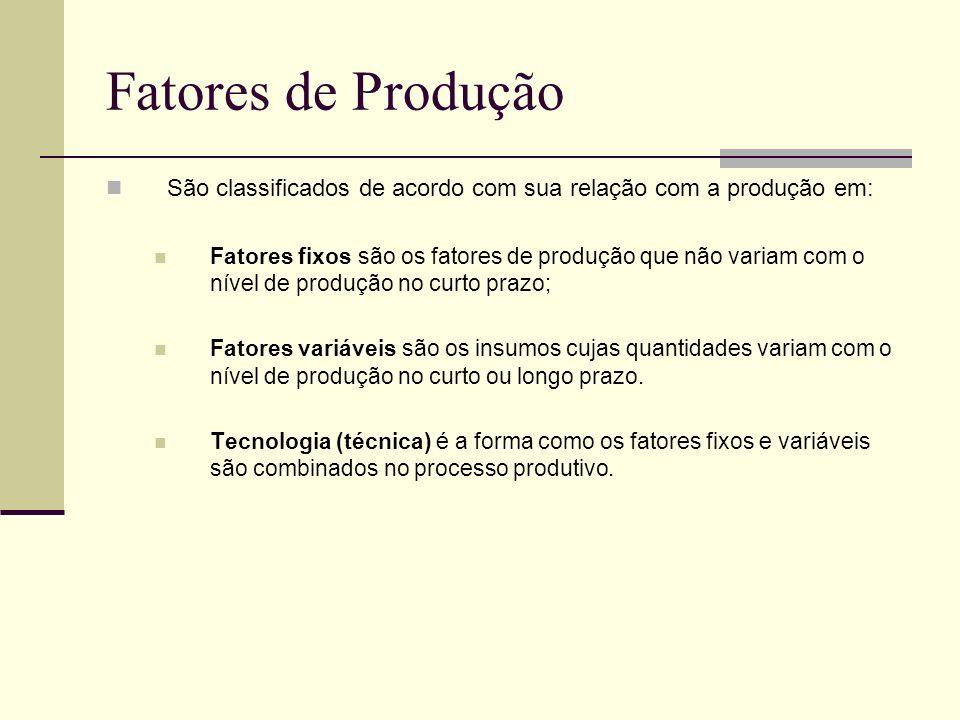 Fatores de Produção São classificados de acordo com sua relação com a produção em: