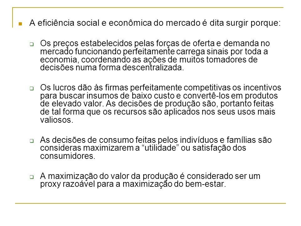 A eficiência social e econômica do mercado é dita surgir porque: