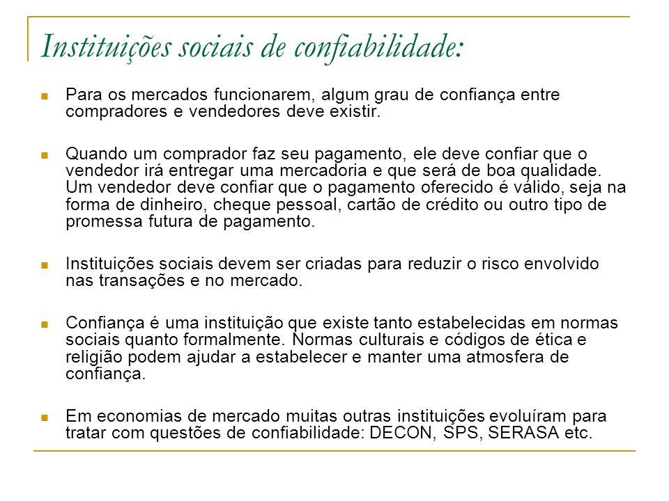 Instituições sociais de confiabilidade: