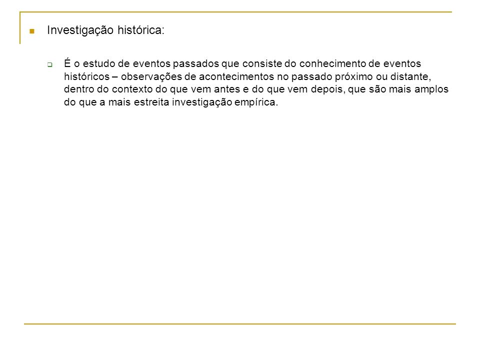 Investigação histórica: