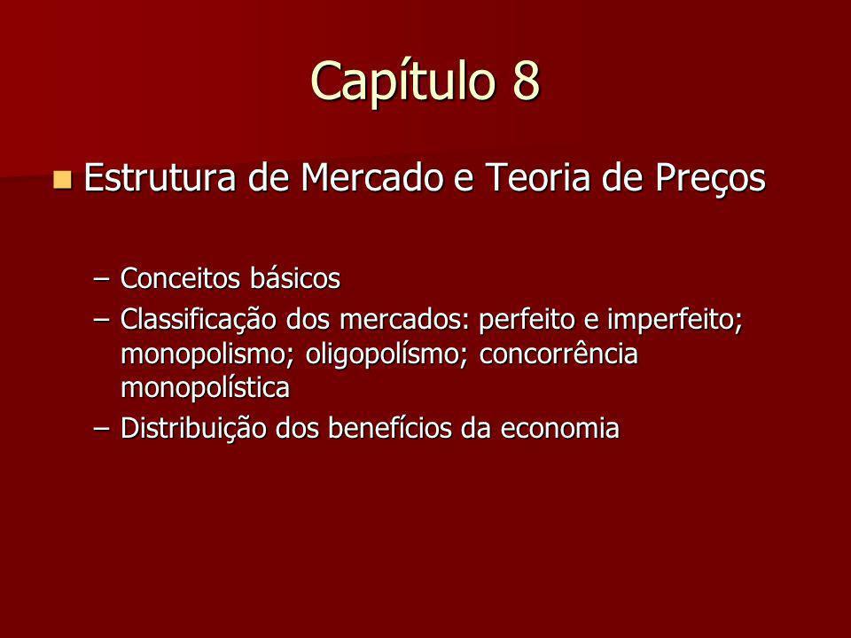Capítulo 8 Estrutura de Mercado e Teoria de Preços Conceitos básicos