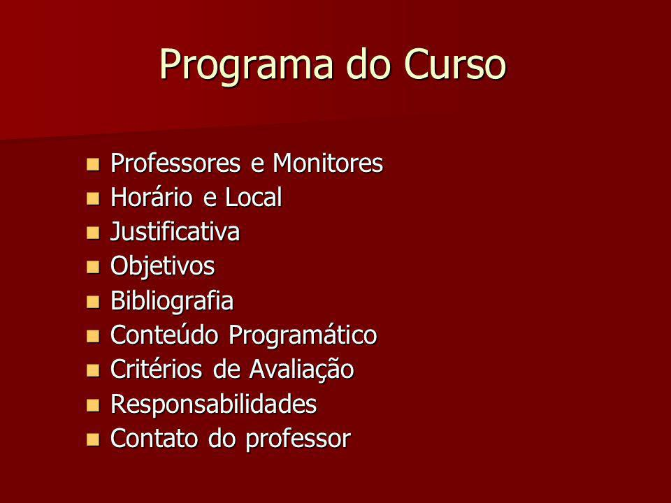 Programa do Curso Professores e Monitores Horário e Local