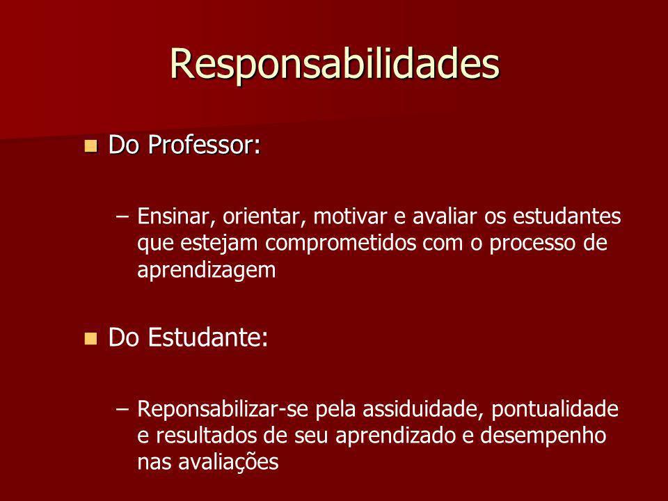 Responsabilidades Do Professor: Do Estudante: