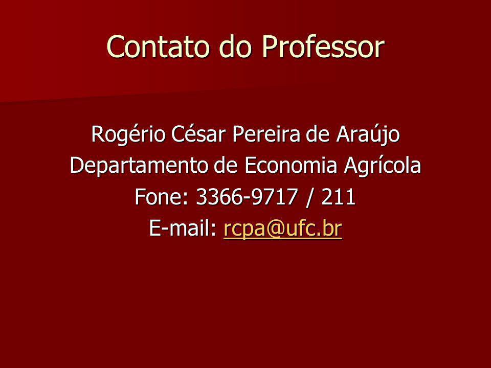 Contato do Professor Rogério César Pereira de Araújo