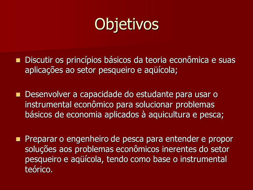 Objetivos Discutir os princípios básicos da teoria econômica e suas aplicações ao setor pesqueiro e aqüícola;