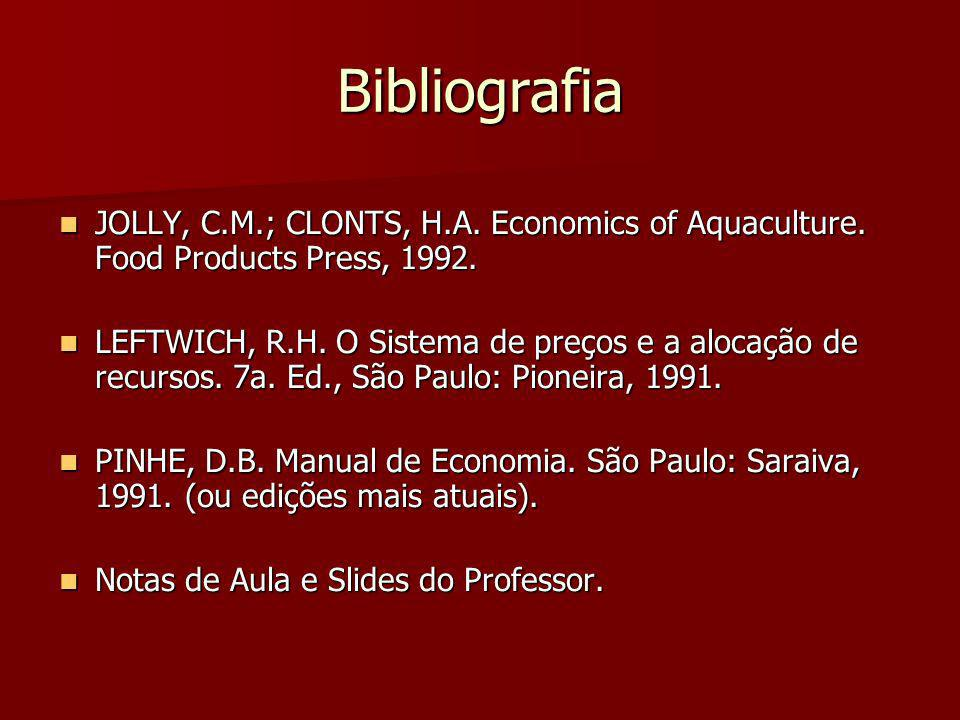 Bibliografia JOLLY, C.M.; CLONTS, H.A. Economics of Aquaculture. Food Products Press, 1992.