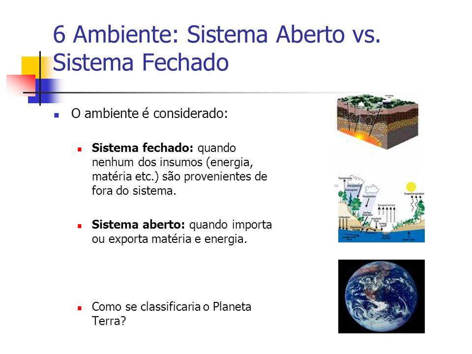 6 Ambiente: Sistema Aberto vs. Sistema Fechado