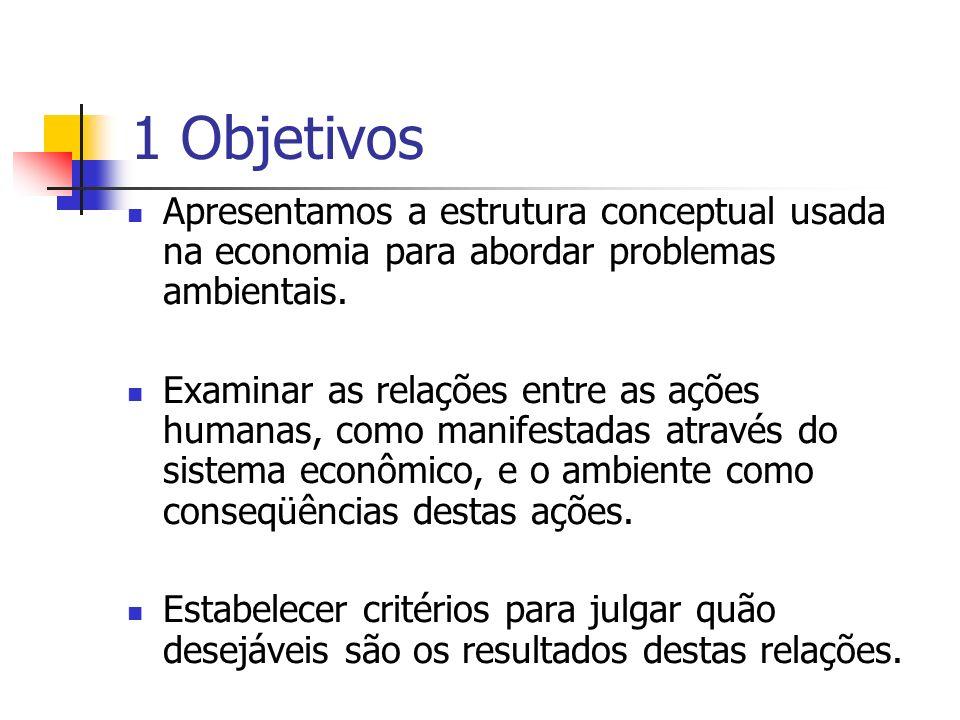 1 Objetivos Apresentamos a estrutura conceptual usada na economia para abordar problemas ambientais.