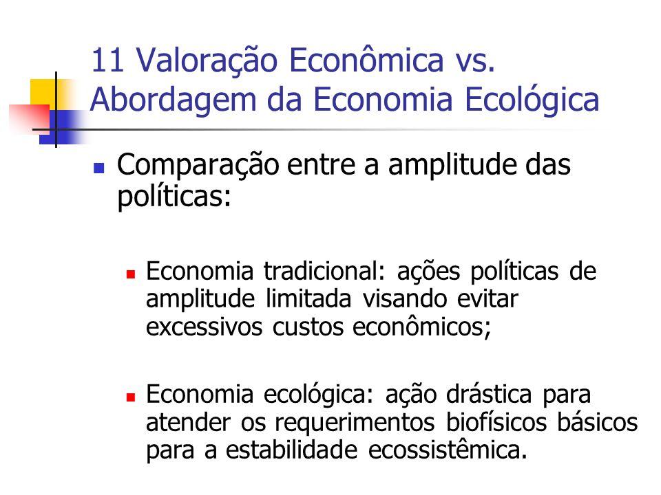 11 Valoração Econômica vs. Abordagem da Economia Ecológica